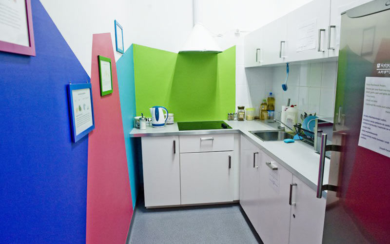 A multicoloured kitchen area