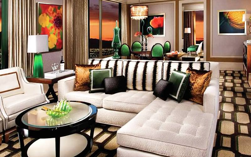 The lounge area of a large suite at Bellagio