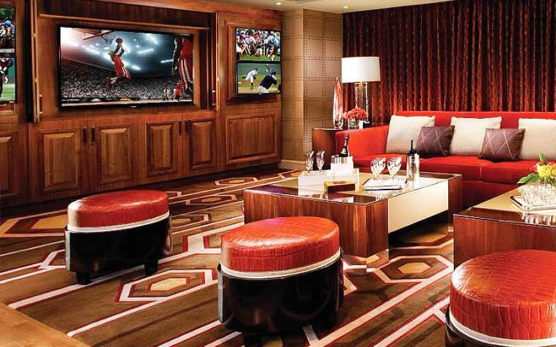 The lounge and TV area of a large suite at Bellagio