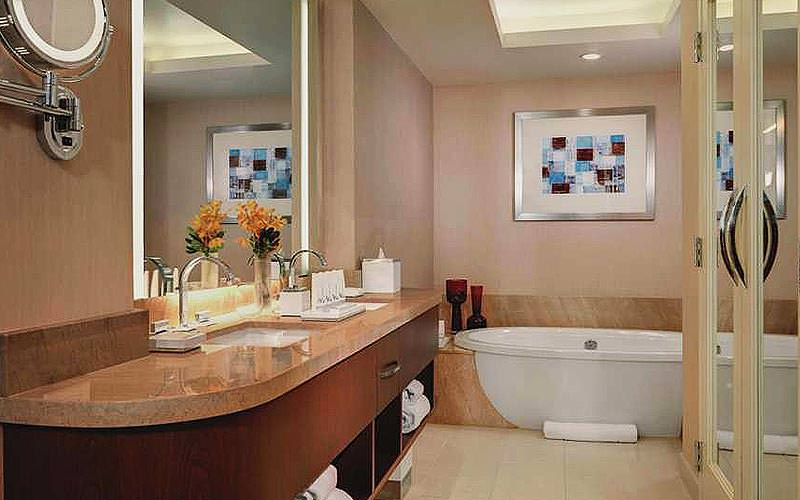 The bathroom of a guest room at ARIA resort