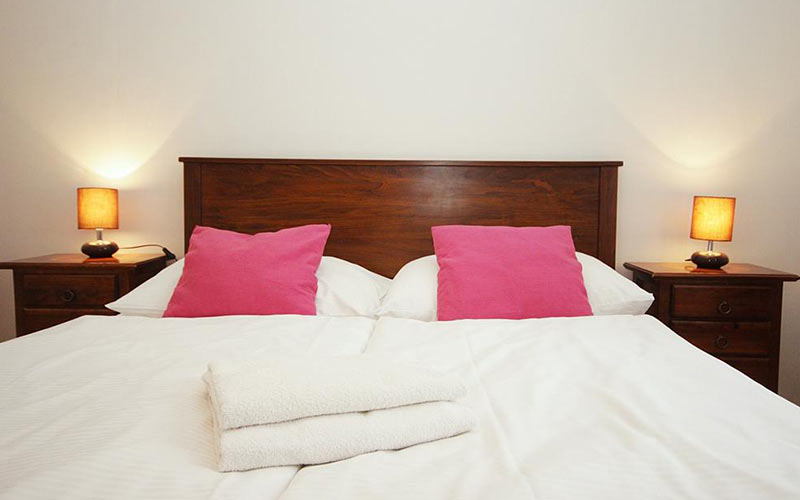 A double bed with two pink pillows and two bedside tables