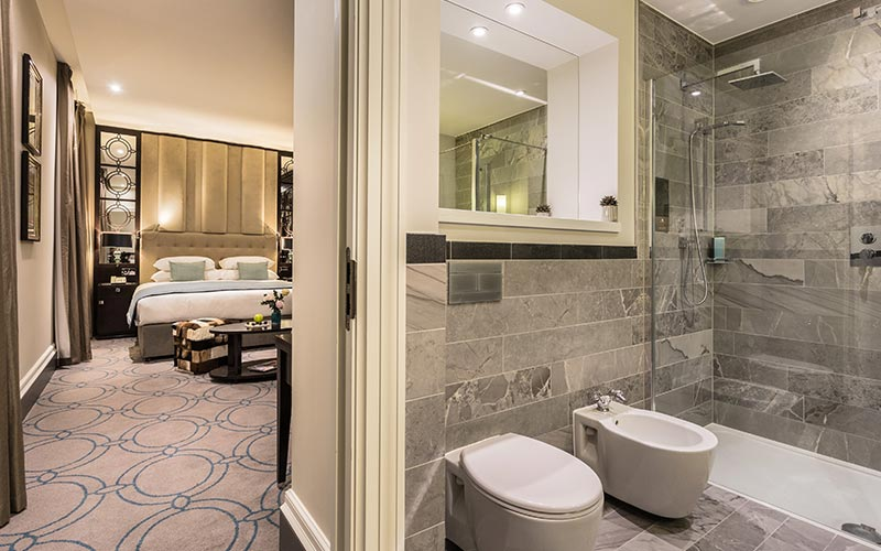 A view of a bathroom and bedroom