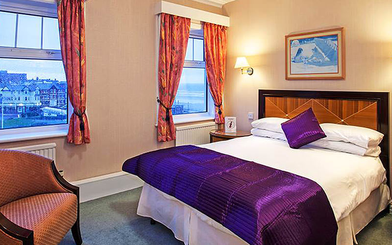 A double bedroom with two windows and purple and white bed linen