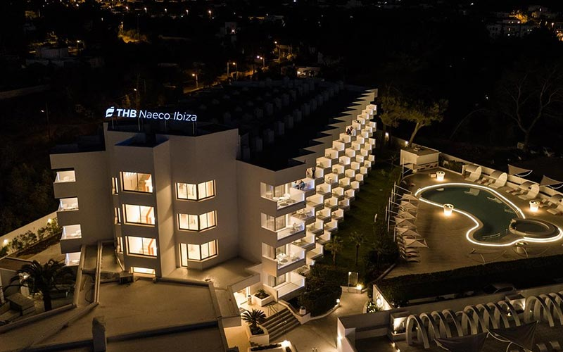 The exterior of THB Naeco Ibiza at night