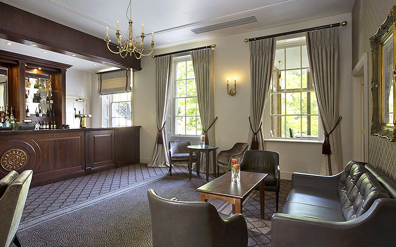 The plush bar area in Bailbrook House Hotel