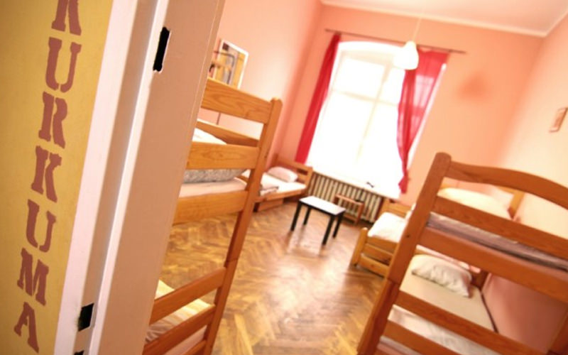 A hostel room with several bunk beds