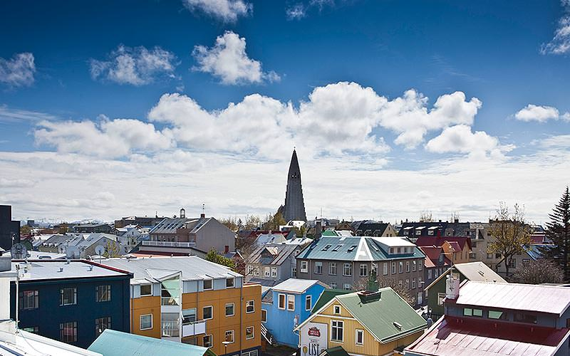 A view over the rooftops of Reykjavik, with the Hallgrímskirkja cathedral visible