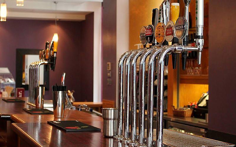 The bar pumps at the bar