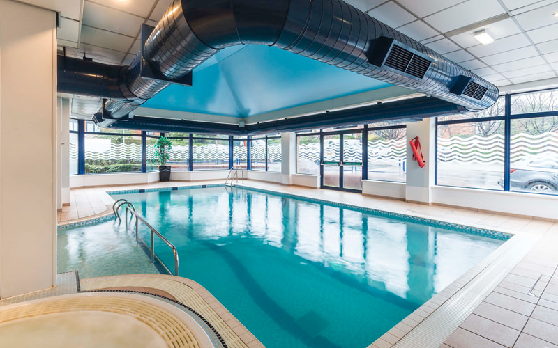 A swimming pool in a hotel
