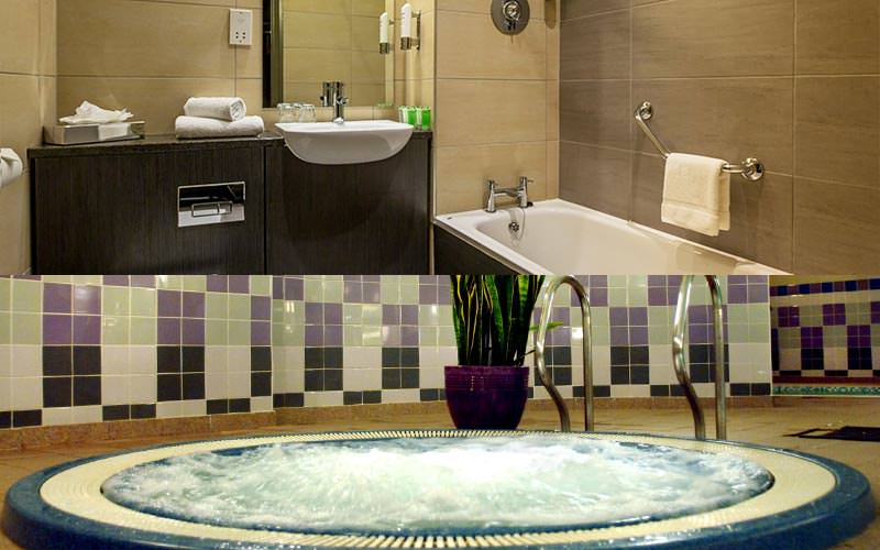 Split image of a hotel bathroom featuring a bath and sink, and a Jacuzzi with a plant in the background
