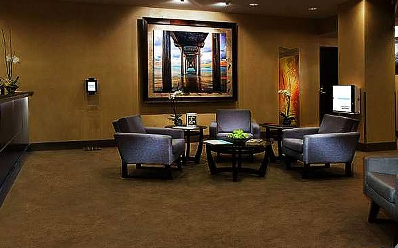 A seating area in the lobby of the MGM Grand Hotel