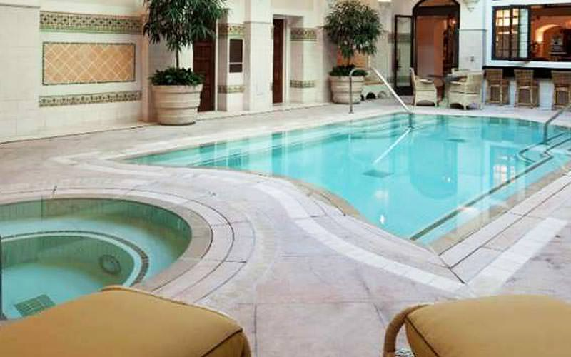 A small indoor swimming pool and jacuzzi at the MGM Grand Hotel