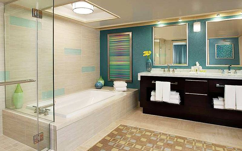 A large bathroom in a Mirage Hotel guest room