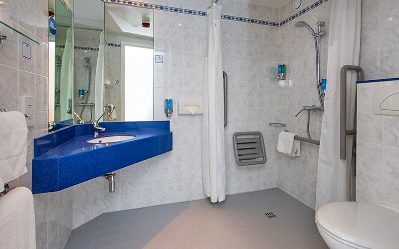 The grey and blue colour schemed bathroom