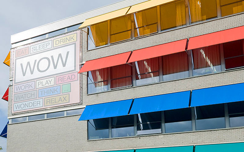 The exterior of Wow Hostel in Amsterdam