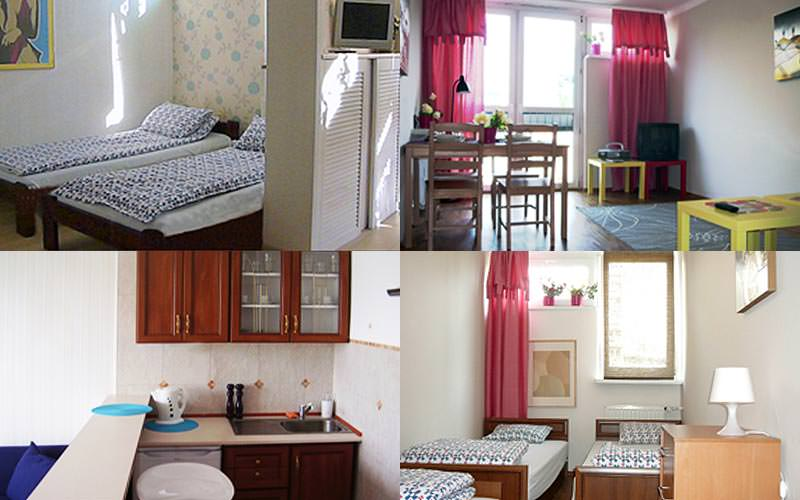 A four-split image of different living areas and bedrooms in the Top One Apartments