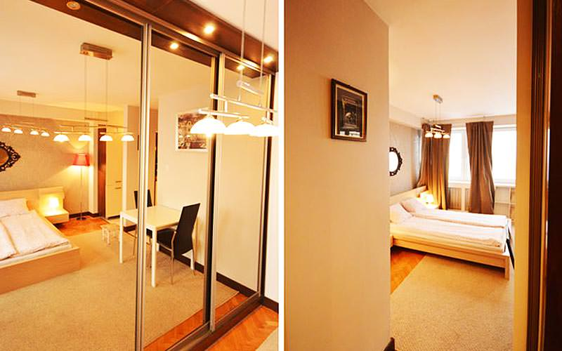 Two views of a bedroom in an Apartment4you apartment