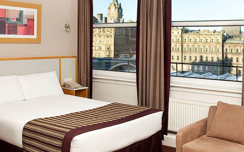 A double room in Jurys Inn, with a picturesque view out of the window