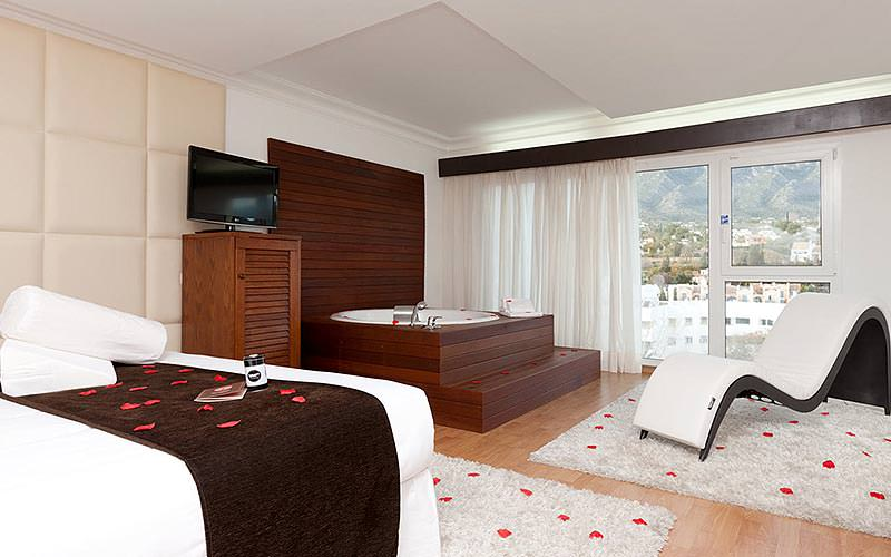 A double room with rose petals on the bed, as well as a large, plush bath and ergonomic seat