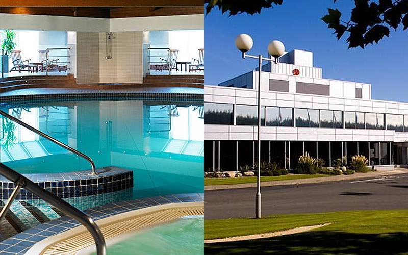 Split image of the indoor pool at Marriott Hotel, Edinburgh, and the exterior