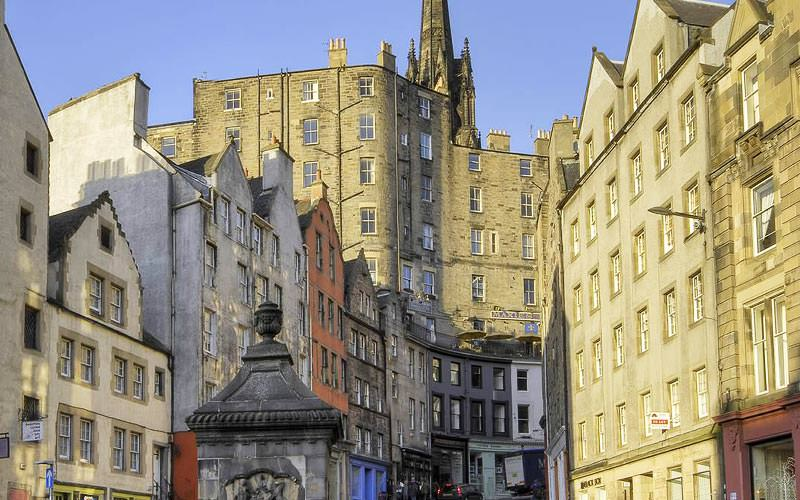 The Grassmarket buildings during the day