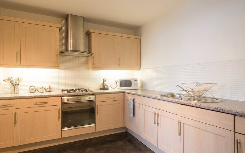 The kitchen area of Edinburgh Quay Apartments