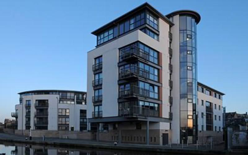 The exterior of the building Edinburgh Quay Apartments are held in