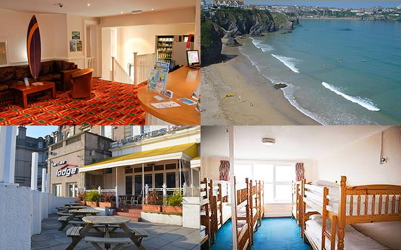 Four images of Berties Hotel, Newquay - featuring the beach, exterior, bunk room and reception
