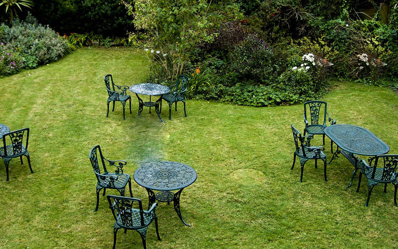 Garden tables and chairs outdoors