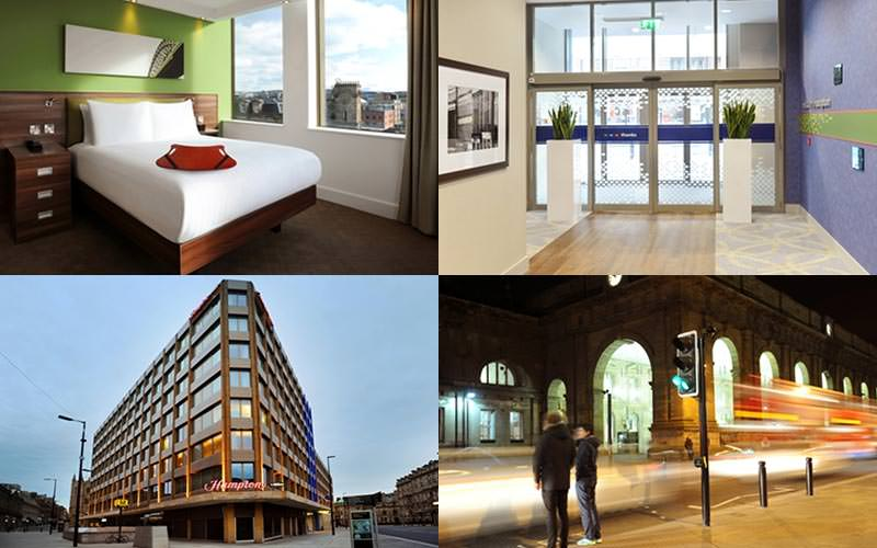 Four tiled images of the Hampton By Hilton, Newcastle - one of the reception, exterior, street at night and hotel room