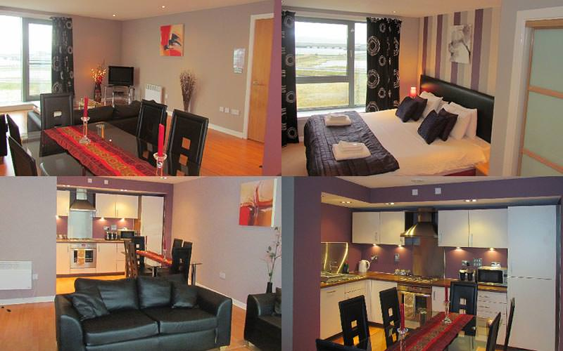 Four tiled images of different parts of the hotel including bedrooms and kitchen
