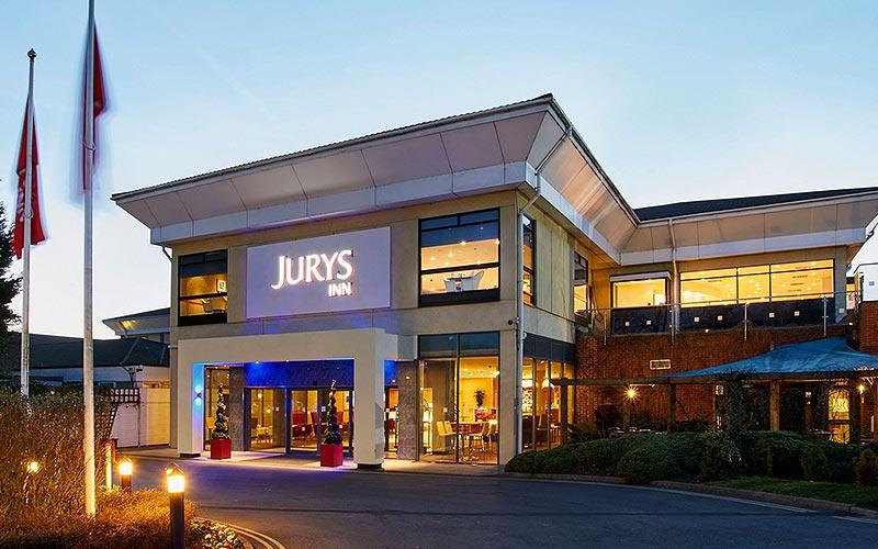 The exterior of Jurys Inn, at dusk