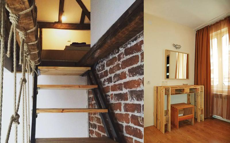 A split image of a staircase and guest room at Hotel Pop Bogomil