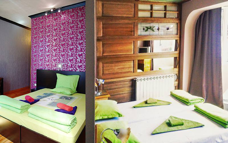 A split image of a guest room and dining area at Hotel Pop Bogomil