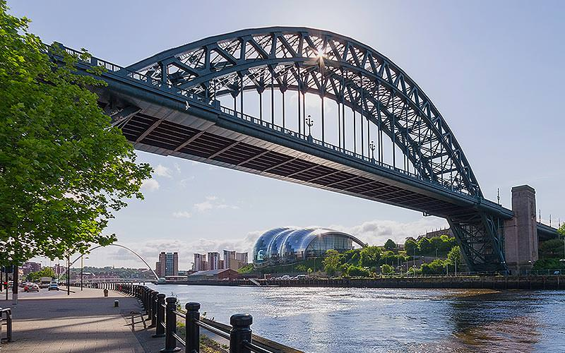 The Tyne Bridge and Newcastle Quayside during the day
