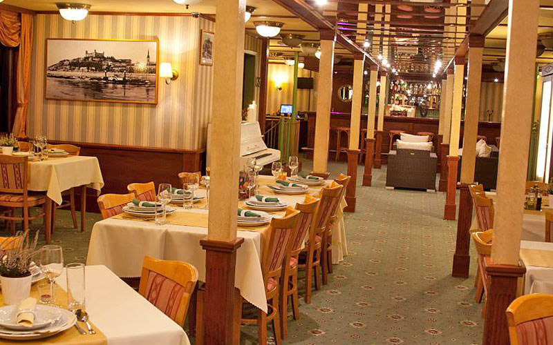 Dining area of the Botel Marina