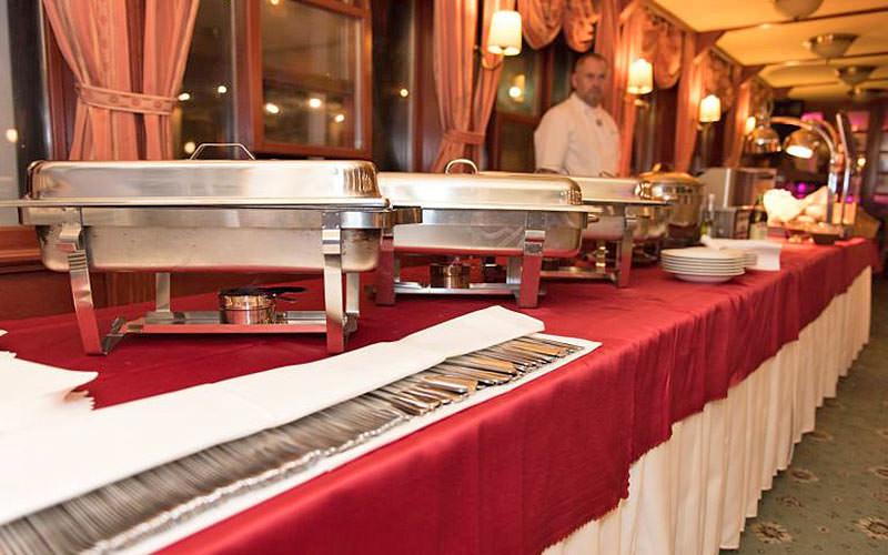 Food buffet at the Botel Marina