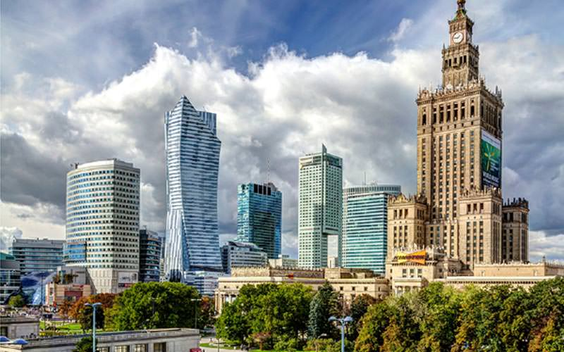The Warsaw skyline including the Palace of Culture and Science