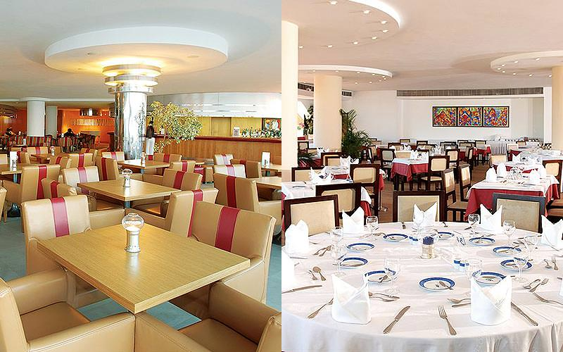 Split image of tables in the Paraiso Albufeira Hotel restaurant