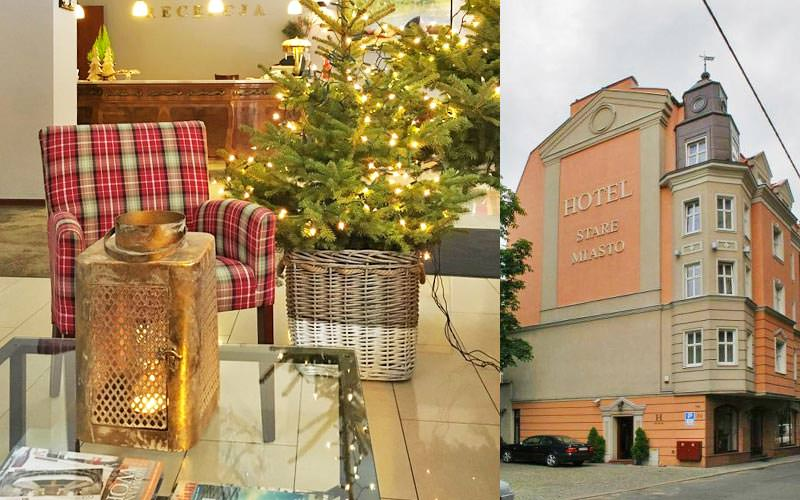 A split image of a Christmas tree illuminated by a tartan armchair, and an exterior shot of Hotel Stare Miasto