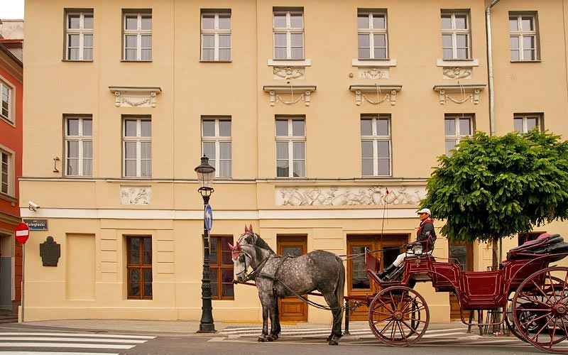 The exterior of a grand building with a horse drawn cart outside