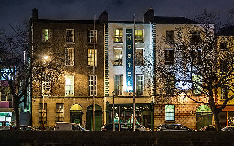 The exterior of the Four Courts Hostel