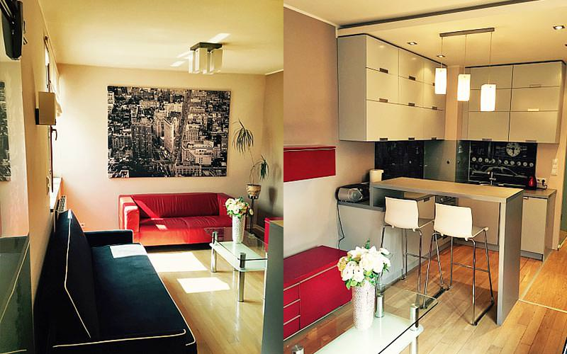 Split image of a lounge seating area and a kitchen