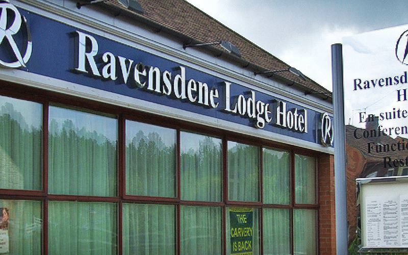 The exterior sign of Ravensdene Lodge Hotel, Newcastle