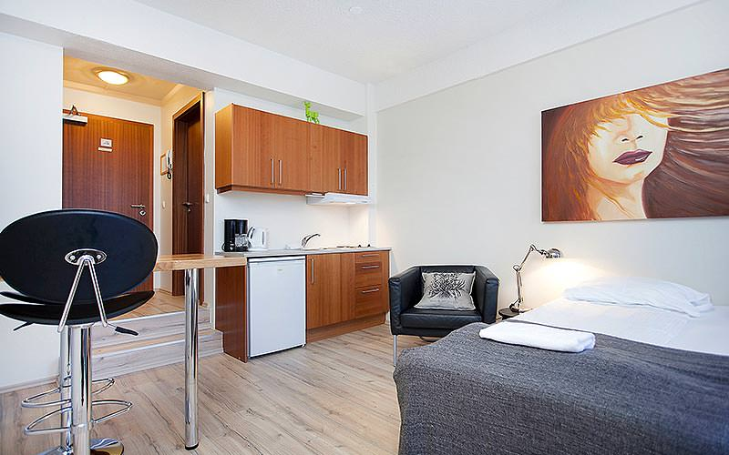 A modern studio room with a bed, painting and kitchenette