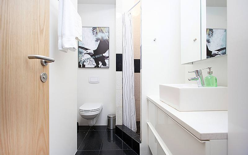 A modern bathroom with art and black tiled floors