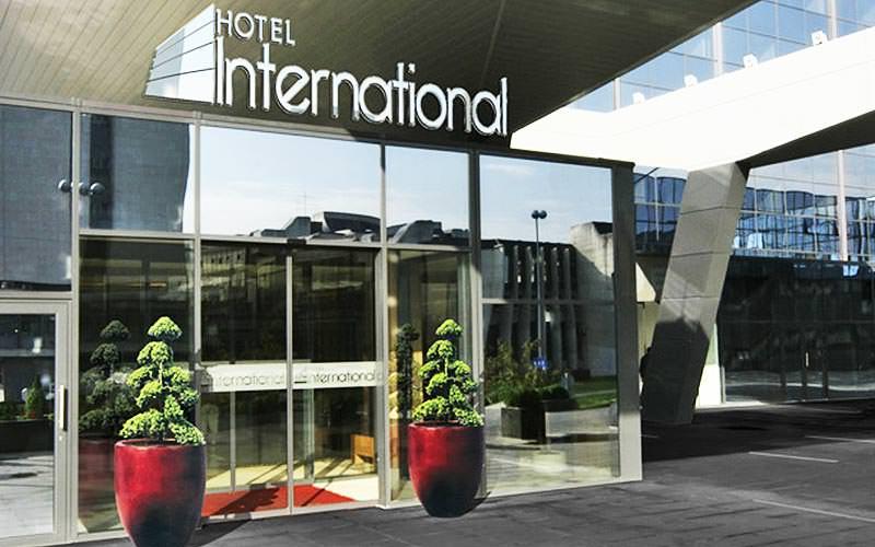 Front door of Hotel International Zagreb
