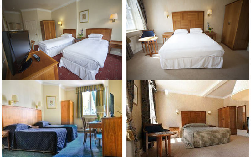 Four tiled images of four types of bedroom within Arnos Manor Hotel in Bristol