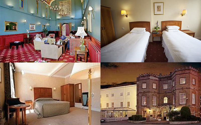 Four tiled images of the Arnos Manor Hotel, including two bedrooms, the lobby area and one of the exterior