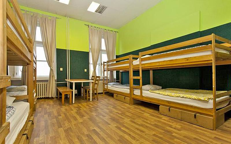 A lime green room with bunk beds lining the walls